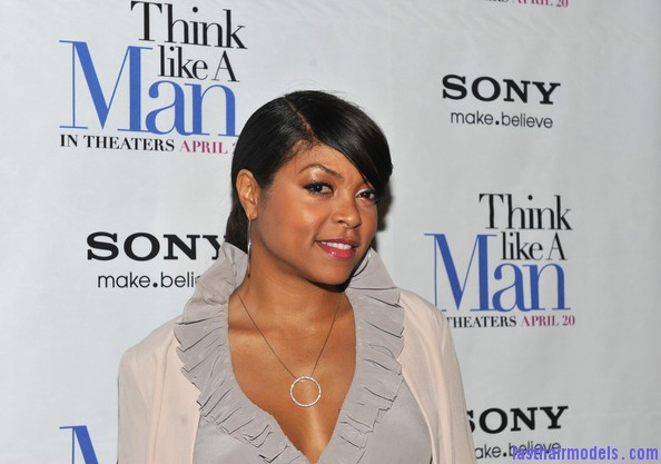 Taraji+P+Henson+Tops+Ruffle+Blouse+uFNkP9hQ051l Taraji P Henson's side banged ponytail: Simple hairstyle with grace!