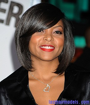 black women bob hairstyle bangs Taraji P Henson's sleek shiny bob : shine in perfection!