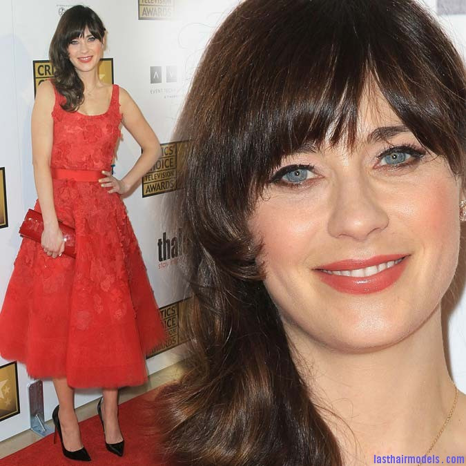 expostas.com Zooey Deschanel 2012 Critics Choice Television Awards in Beverly Hills Zooey Deschanels front bangs with curls: Girly at her best!