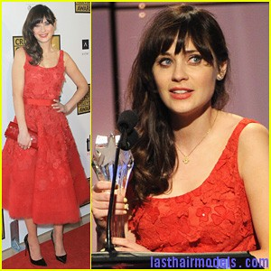 zooey deschanel critics choice television awards 2012 Zooey Deschanels front bangs with curls: Girly at her best!
