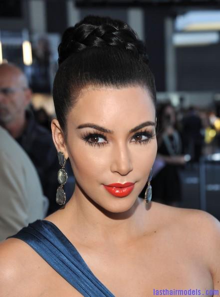 Kim+Kardashian+Updos+Braided+Bun+H64Sd3ofheQl Crest blob hairstyle.
