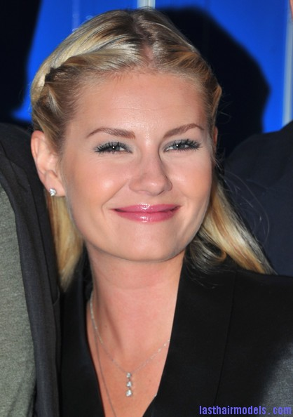 Elisha+Cuthbert+Makeup+Pink+Lipstick+wob7JTennqrl Elisha Cuthberts pencil roll hairstyle: Center partitioned hairstyle!