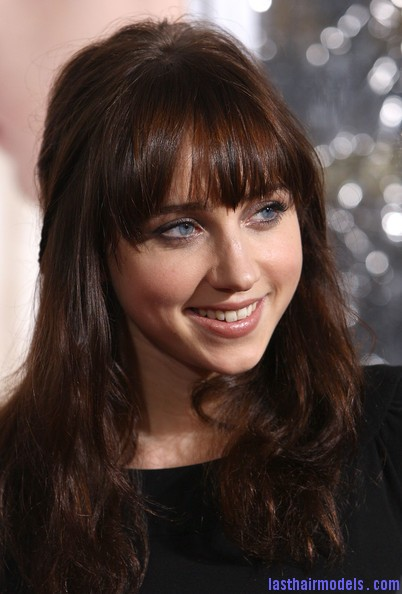 Zoe+Kazan+Long+Hairstyles+Long+Wavy+Cut+Bangs+Q 0NxnJom1Kl1 Zoe Kazan's wavy half tie: Gorgeous hairstyle with bangs!