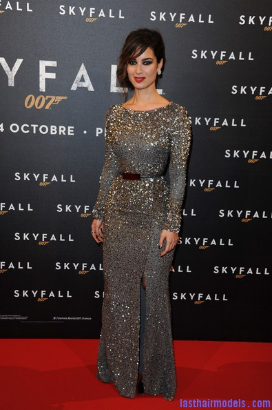 sd Berenice Marlohe crimped strands swirled messy chignon: perfect!